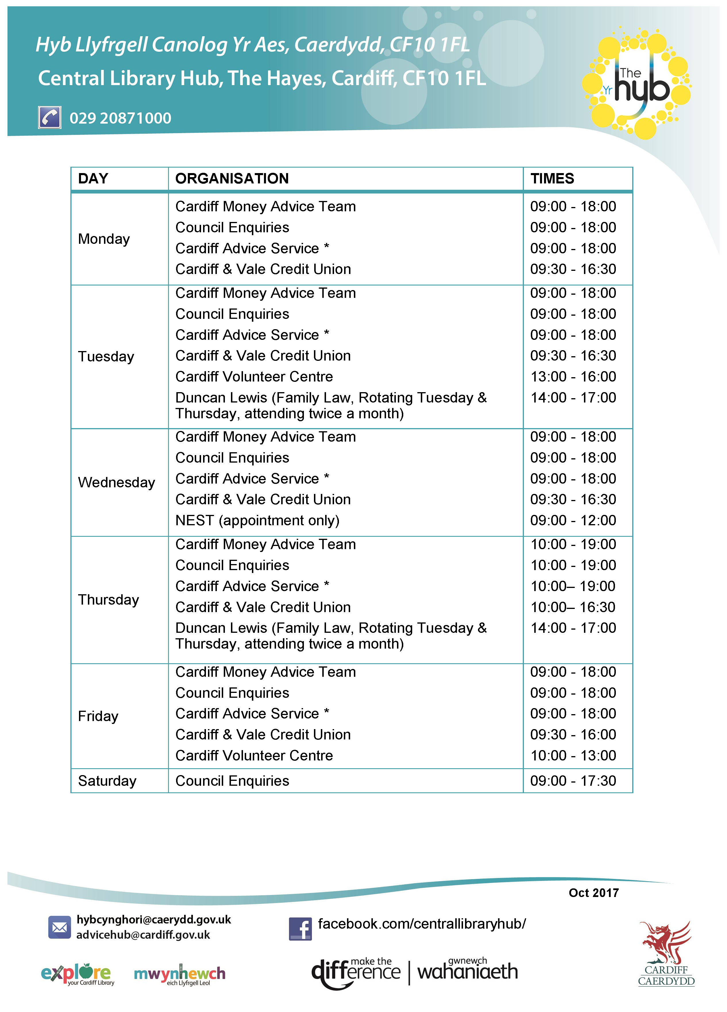 ADVICE HUB TIMETABLE Page 1