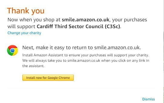 Amazon Smile C3SC Charity Donate Thank you