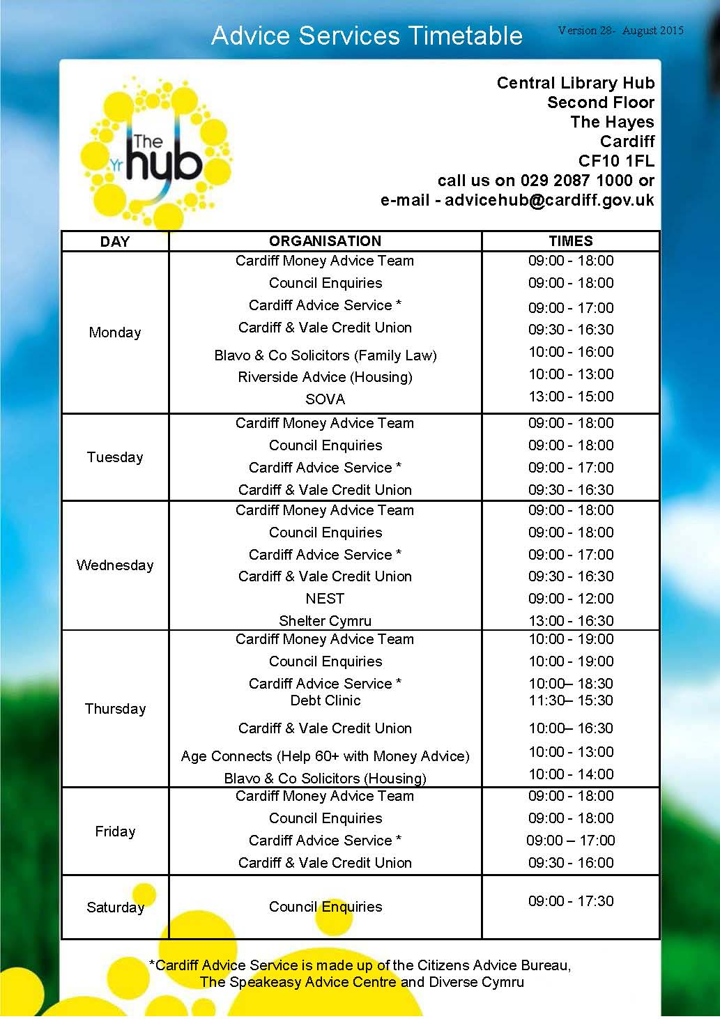 Central Library Hub Timetable