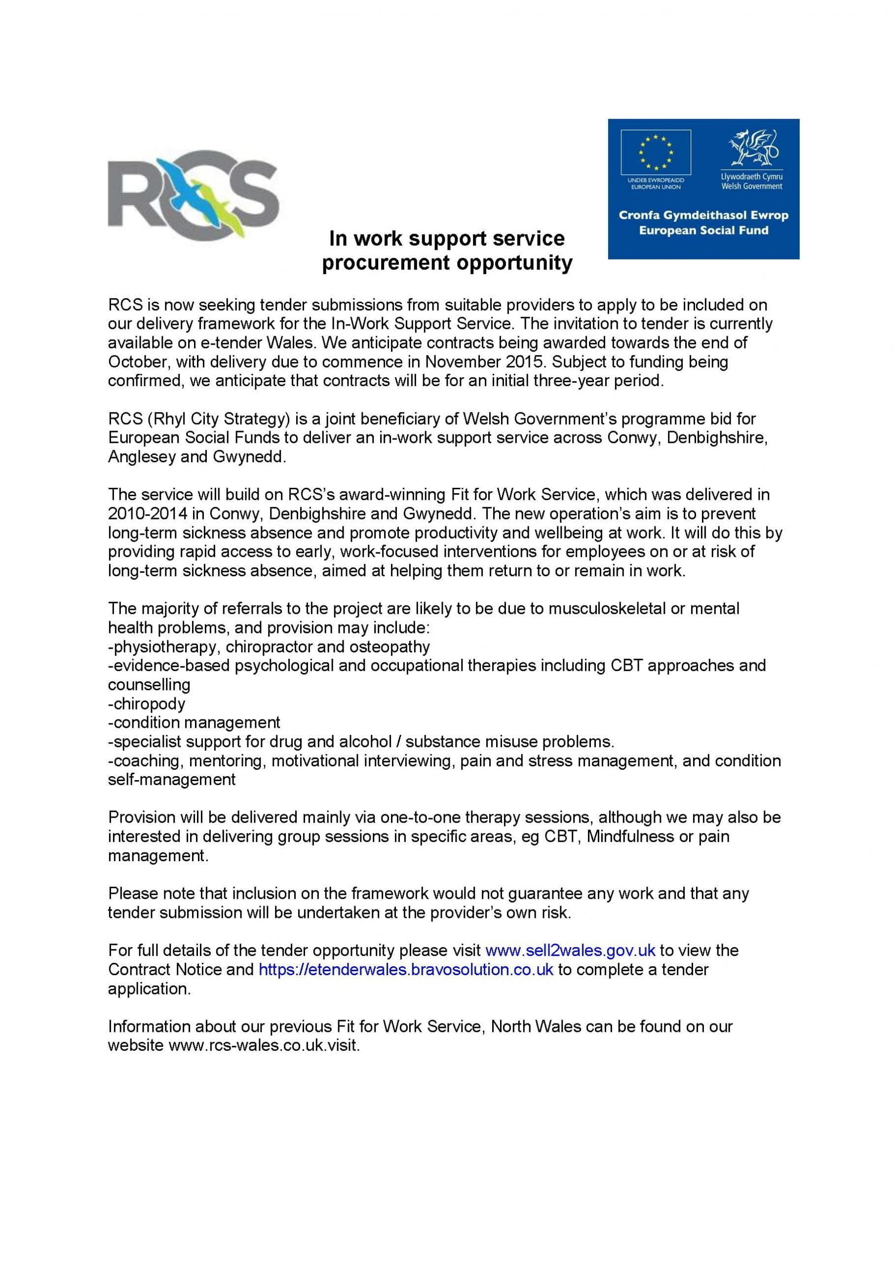 In work support service procurement opportunity notice