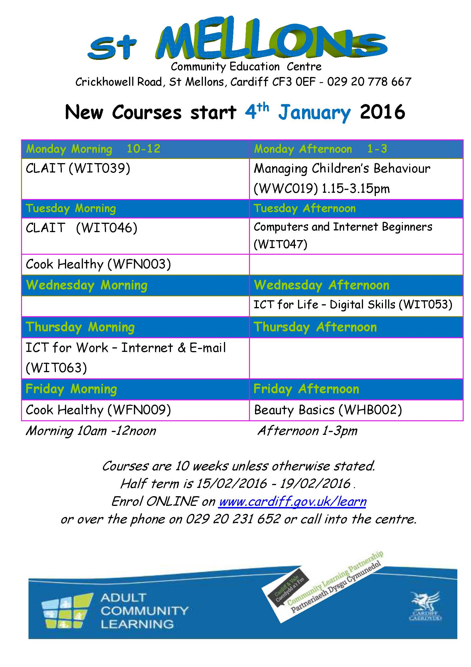 January 2016 St Mellons flyer