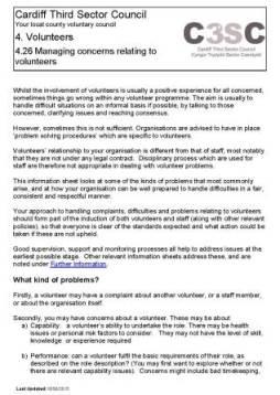 Managing concerns relating to volunteers information sheet