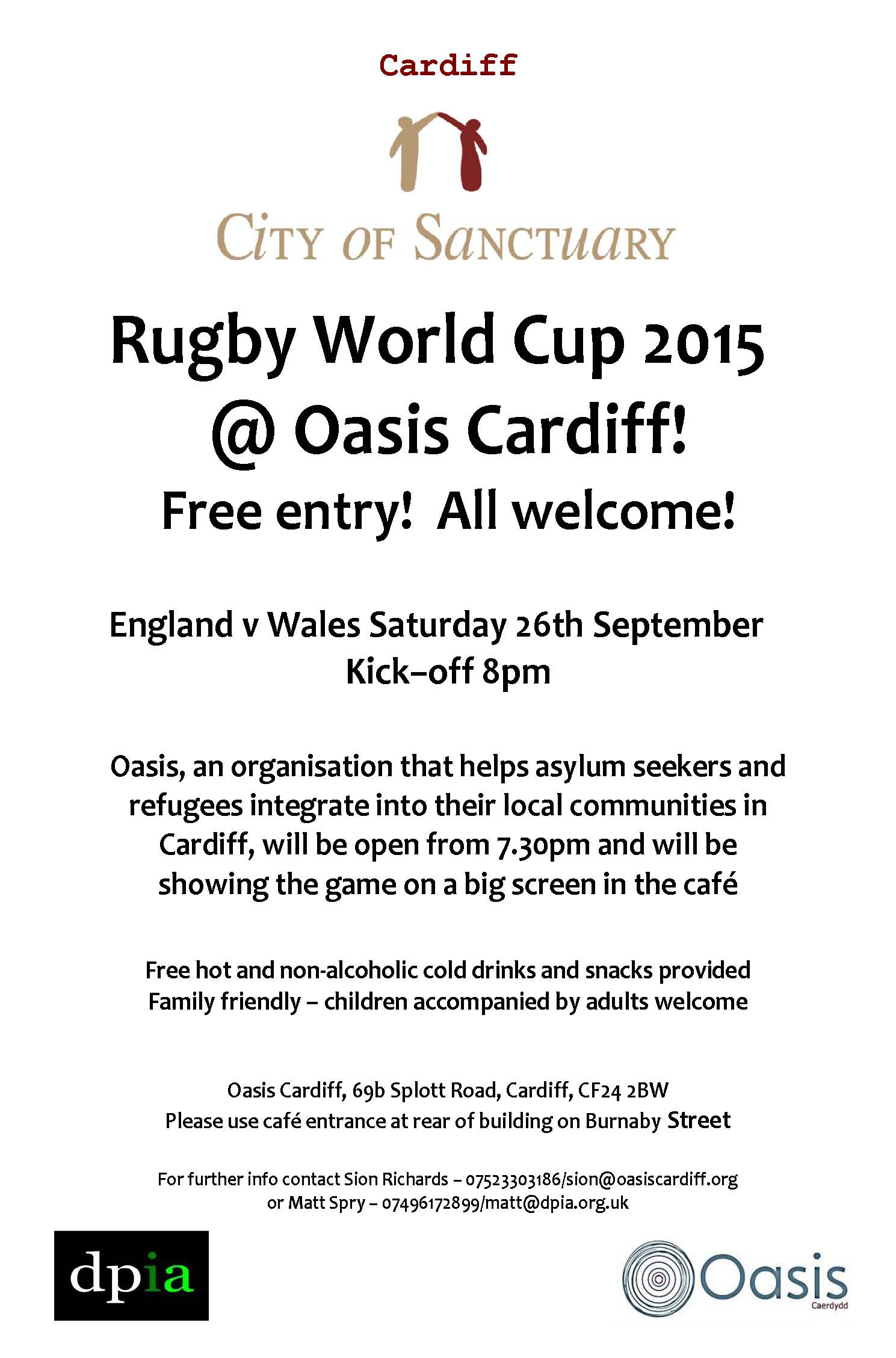 Oasis Rugby World Cup 26 September flyer