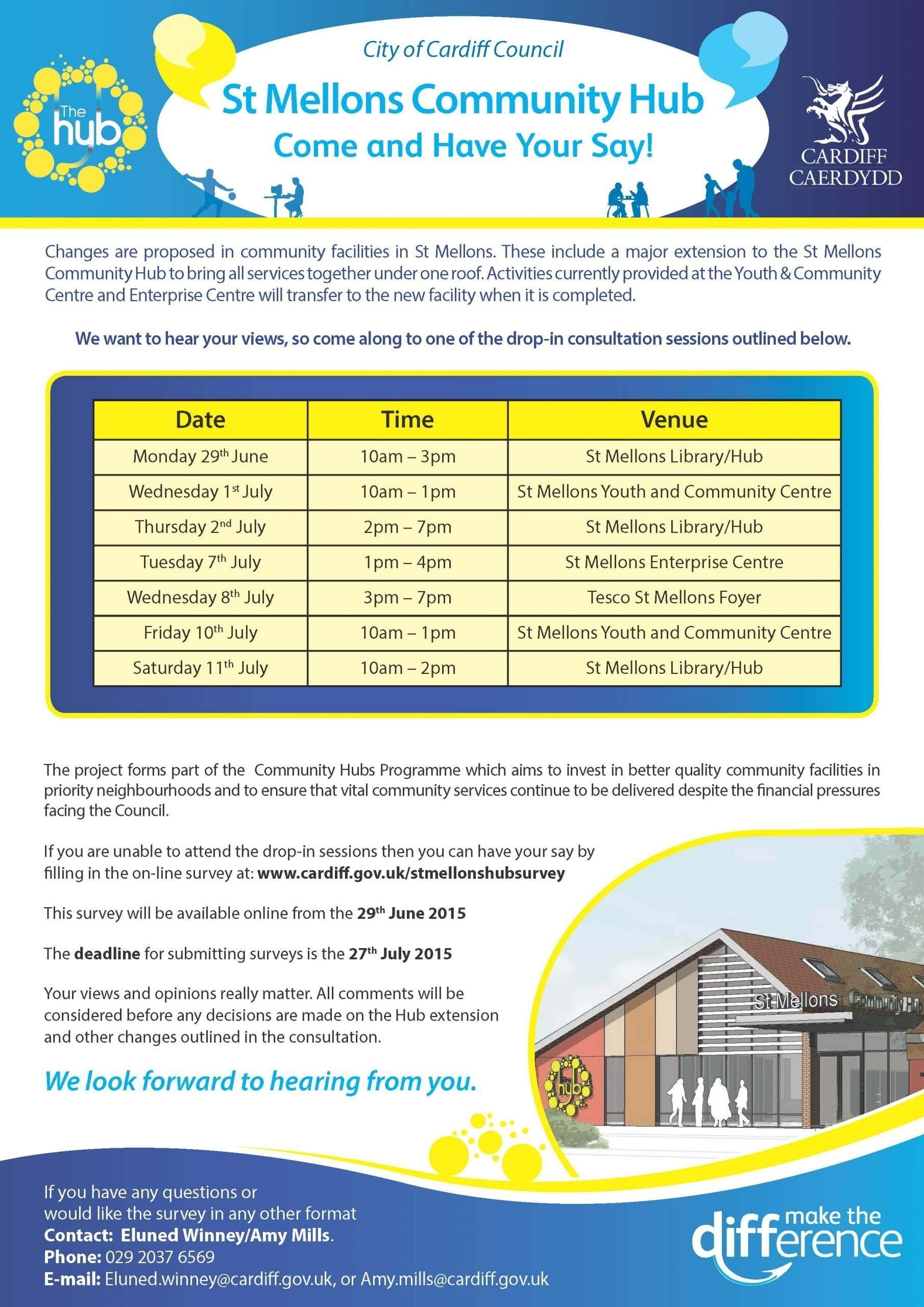 St Mellons Community Hub consultation flyer
