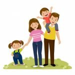 portrait four member happy family posing together parents with kids 283146 78